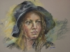 Pastel-studie-Vrouw-met-regenhoed te koop