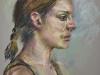 portret studie van een vrouw in groen shirt