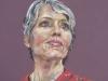 pastel-portret-vrouw-met-rode-jurk te koop