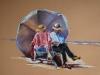 lezend-echtpaar op het strand, pastel op papier