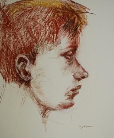 Portret studie van een model, maat 40 x 30 cm
