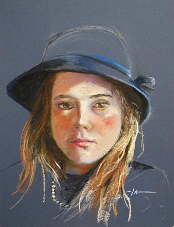 """Portret """"de blauwe hoed"""", maat 40 x 30 cm"""