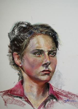 Portret studie op wit pastel papier