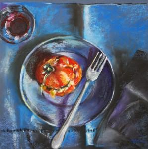 Pastel gegrilde tomaat, maat 30 x 30 cm op pastel papier