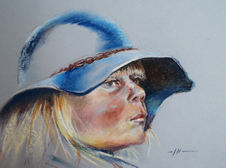 "Pastel portret ""Meisje met hoed, maat 22 x 30 cm"