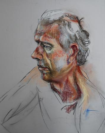 Pastel portret studie naar model
