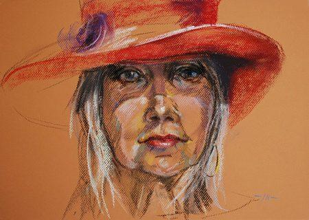 portret plein air studie Model met Rode Hoed