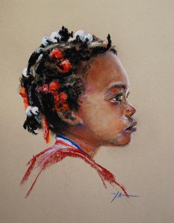Pastel portret van een kind, maat 30 x 22 cm