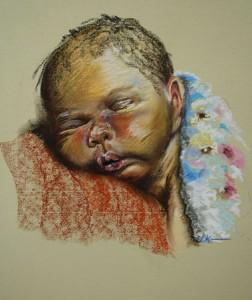 pastel portret van een slapende baby