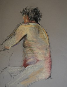 Tom5april2013, pastelstsudie maat 60 x 50 cm