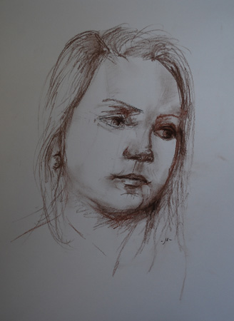 Portret studie pastelpotlood, maat 40 x 30 cm op papier