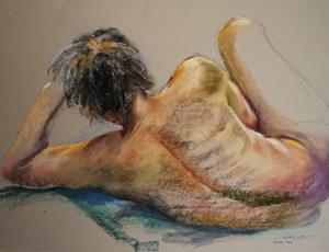 Pastel Studie van een rugnaakt, maat 50 x 65 cm