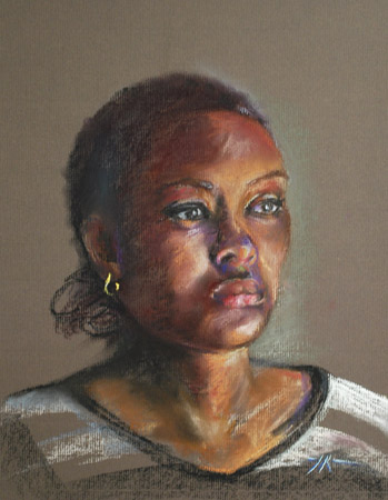 Pastel studie Mrs.B, maat 40 x 30cm op bruin pastel papier