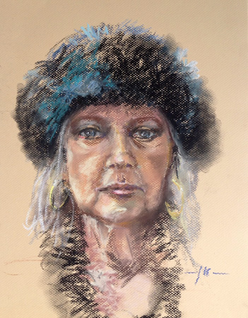 Plein air portret in soft pastel van Model Wil