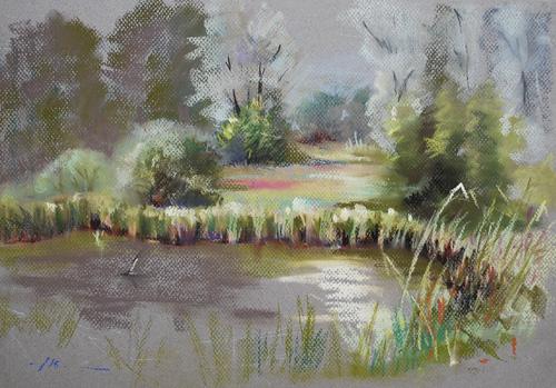 """plein air pastel """"Fort Rammekens"""", maat 30 x 40 cm"""