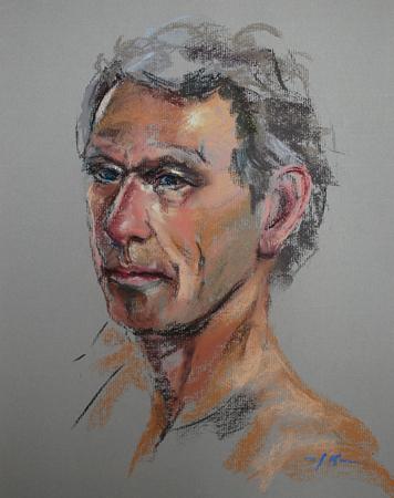 Pastel portret studie naar model, maat 40×30 cm