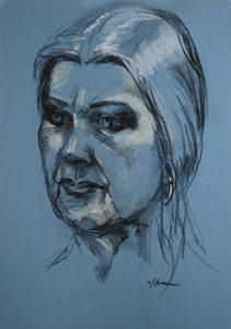 pastel studie naar model van Wil, 40x30 cm op lichtblauw pastel papier