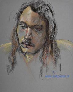 portret studie naar model 75 minuten schets - Joke Klootwijk - softpastel.nl