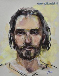 Pastel portret studie maat 34x26 cm op Uart papier - Joke Klootwijk