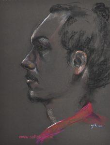 plein air pastel portret naar model 40x30cm op donker bruin pastelpapier. (1 uur studie)