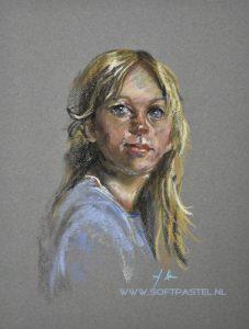 maat 40x30cm op pastel papier van een bestaand portret van een mij onbekende schilder.  © Joke Klootwijk 2019