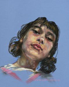 pastelstudie, maat 40x30 cm op blauw canson pastelpapier - ook portretten in opdracht email mij vrijblijvend bij interesse