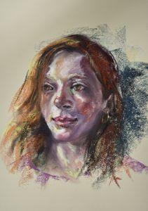 """Pastel portret """"Roodharige vrouw"""", maat 40x30 cm Mi Teinte Touch licht geel papier. Interesse om een portret in opdracht te laten schilderen, vraag vrijblijvend informatie."""