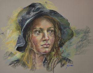 """Pastel studie """"Vrouw met regenhoed"""", maat 30x40 cm. Email mij vrijblijvend bij interesse."""
