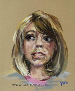 """Pastel studie portret """"Glow Lamb"""", maat 30x24 cm op okerkleurig velourspapier (beschikbaar)"""
