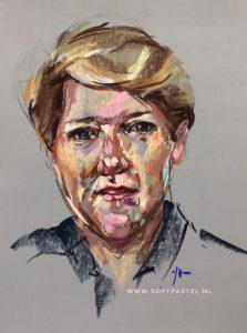 Portret studie in pastel Life via Skyarts Skytv van Clare Balding, maat 40x30 cm. Email mij vrijblijvend als u een opdrachtschilderij overweegt.