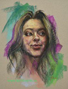 Portret studie in pastel, maat 30x40 cm Mi Teintes pastel papier - Email mij vrijblijvend bij interesse of voor het laten schilderen van een portret in opdracht