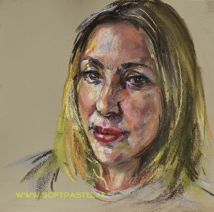 Portret van Melanie Blatt, singer and songwriter, geschilderd via portrait artist of the week Skytv life broadcast