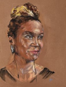 Pastel portret Oti Mabuse Engelse danseres, maat 40x30 cm via Sky arts facebook portrait artist of the week. (beschikbaar)