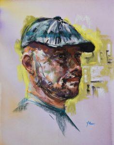 Pastel en aquarel portret Andy, maat 40x30 cm op Pastelmat. - Jokeklootwijk - Middelburg