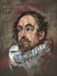 Pastel mastercopy after Sir Anthony van Dyck, maat 40x30 cm op Pastelcard Sennelier. - Joke Klootwijk - pastelportretten - opdrachten en workshops.